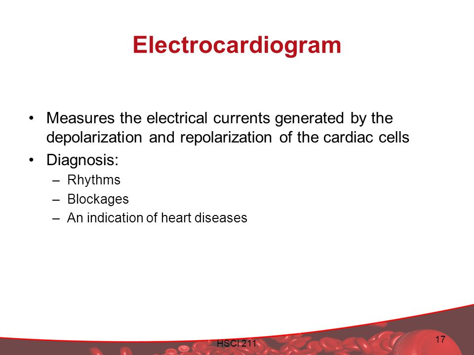 Electrocardiogram Measures the electrical currents generated by the depolarization and repolarization of the cardiac cells.