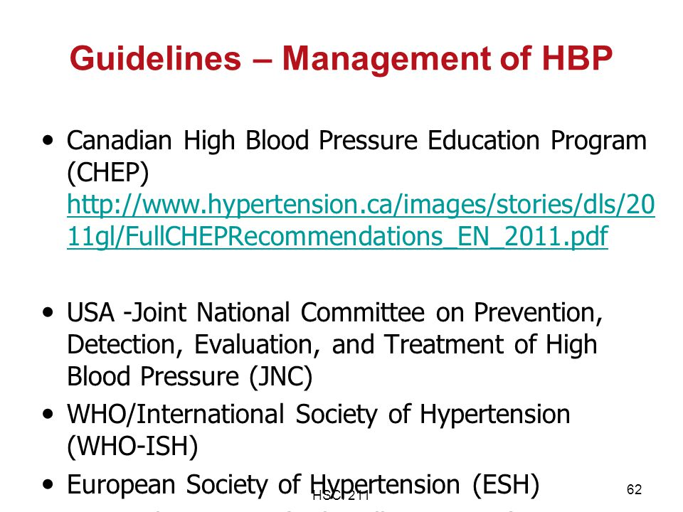 Guidelines – Management of HBP