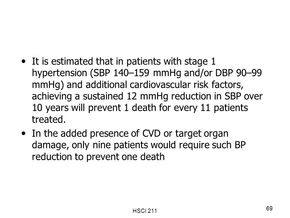 It is estimated that in patients with stage 1 hypertension (SBP 140–159 mmHg and/or DBP 90–99 mmHg) and additional cardiovascular risk factors, achieving a sustained 12 mmHg reduction in SBP over 10 years will prevent 1 death for every 11 patients treated.