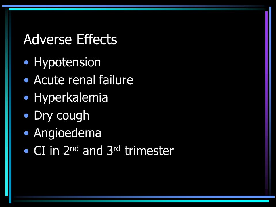 Adverse Effects Hypotension Acute renal failure Hyperkalemia Dry cough