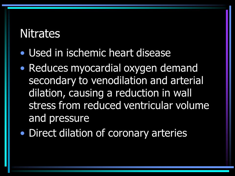 Nitrates Used in ischemic heart disease