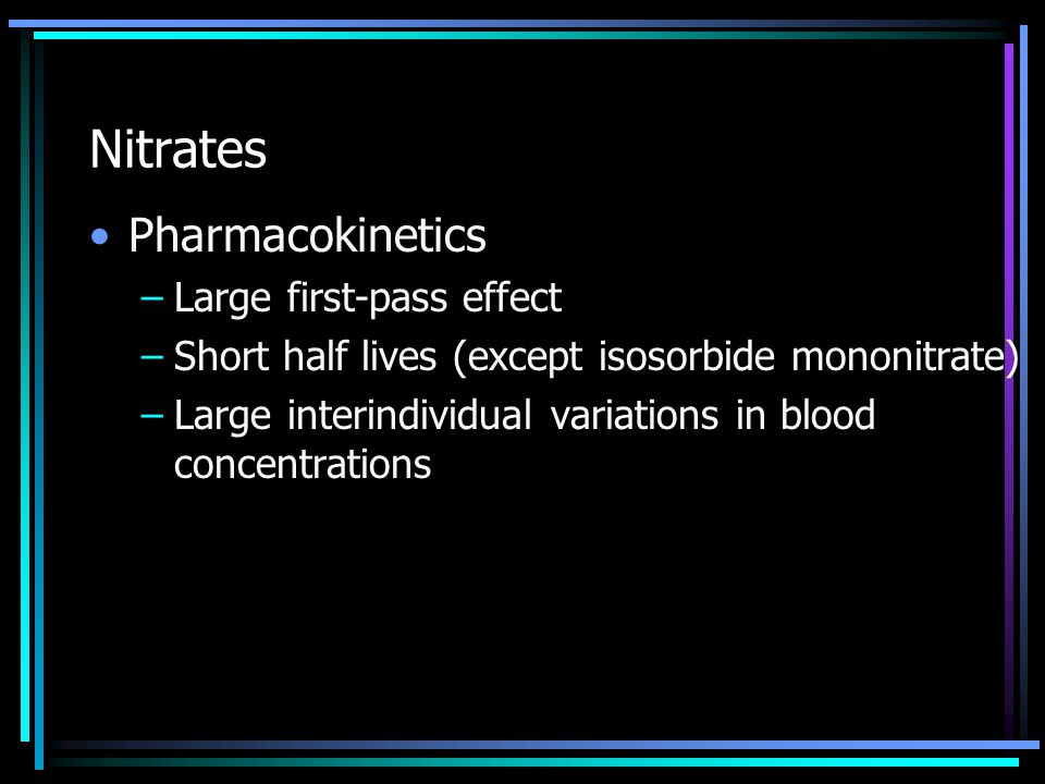 Nitrates Pharmacokinetics Large first-pass effect