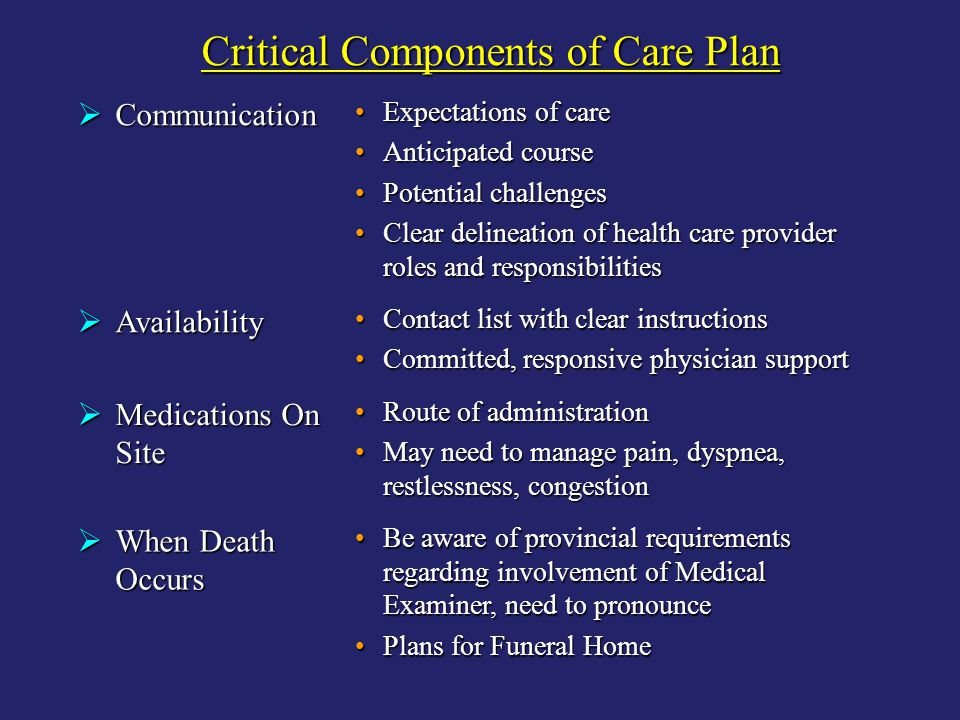 Critical Components of Care Plan