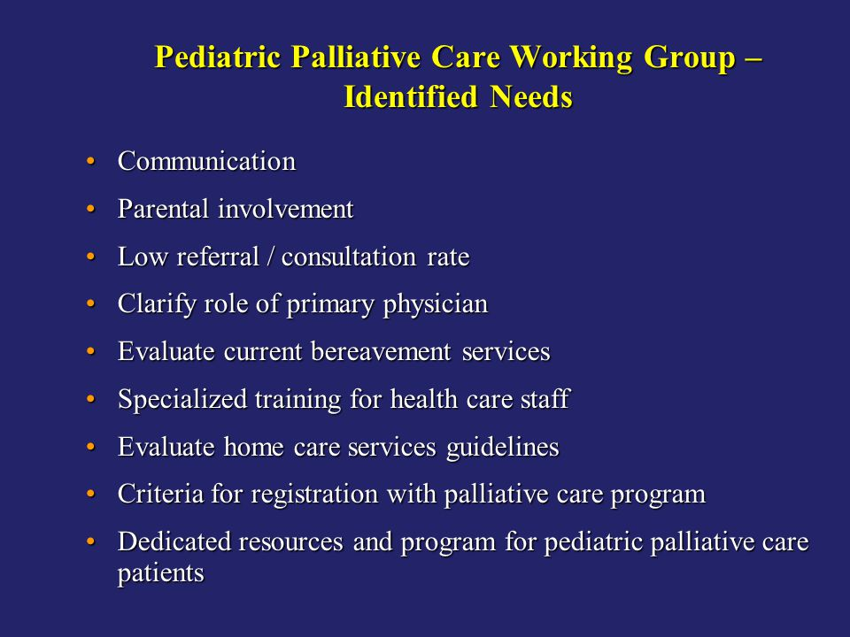 Pediatric Palliative Care Working Group – Identified Needs