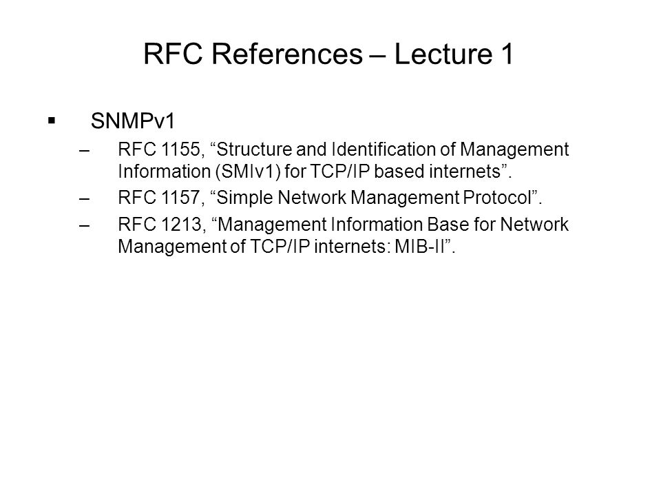 RFC References – Lecture 1