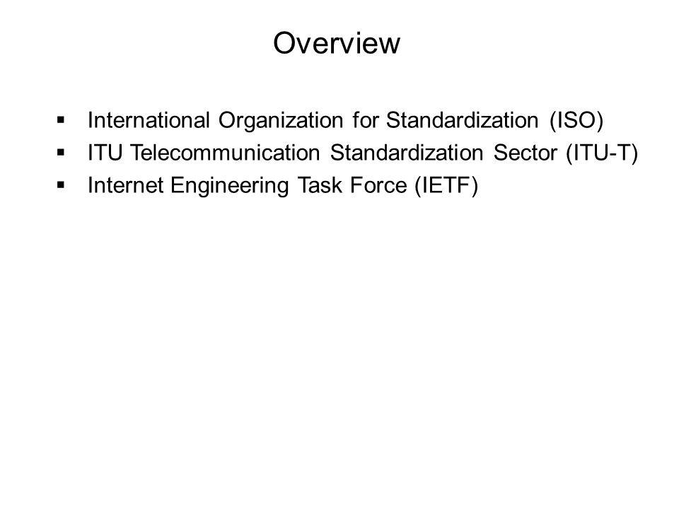 Overview International Organization for Standardization (ISO)