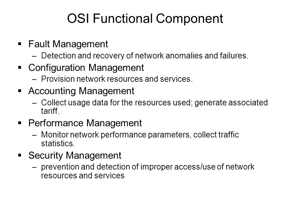 OSI Functional Component