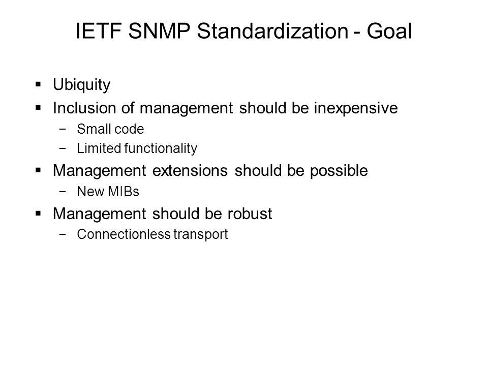 IETF SNMP Standardization - Goal
