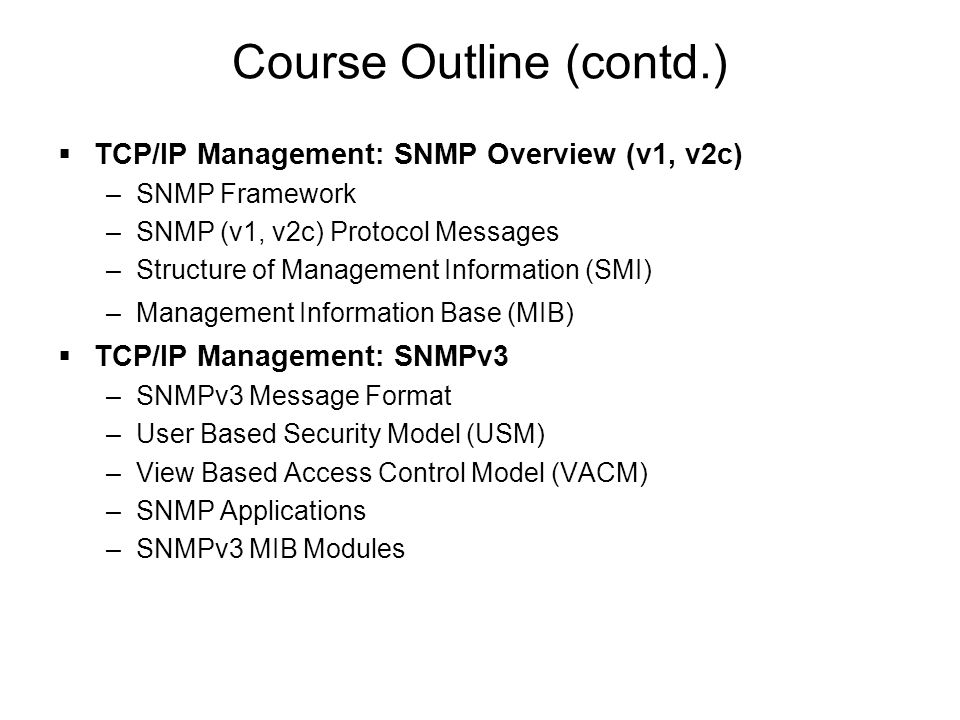 Course Outline (contd.)