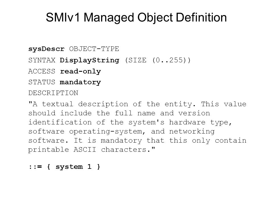 SMIv1 Managed Object Definition