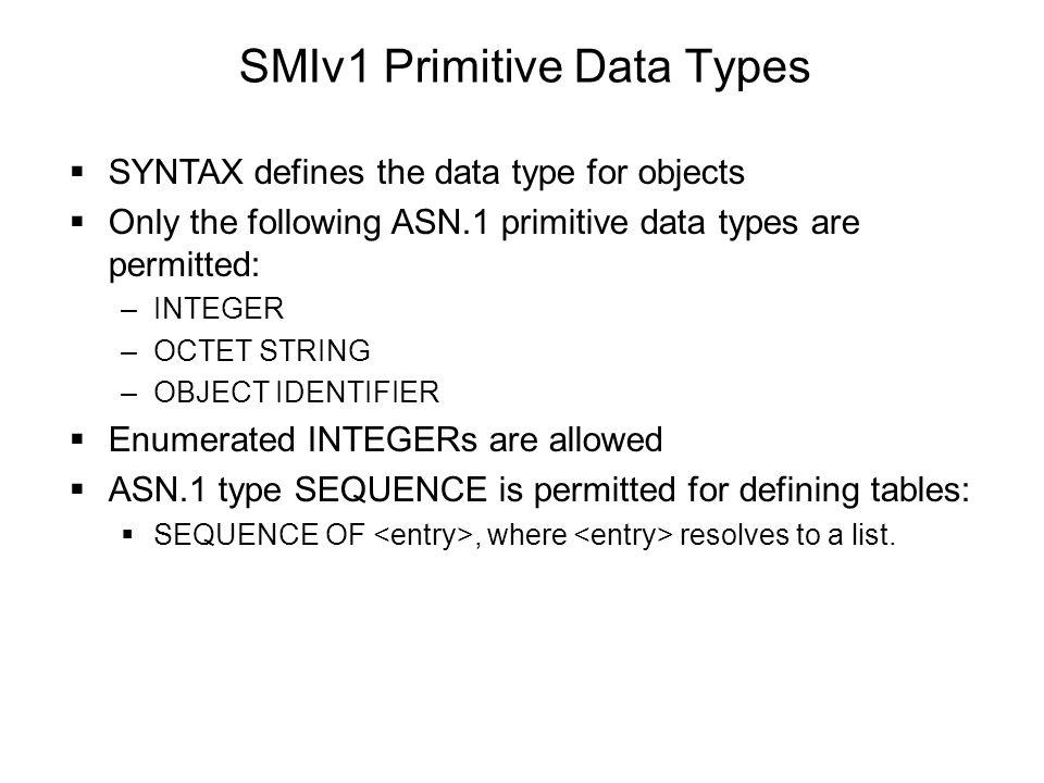 SMIv1 Primitive Data Types