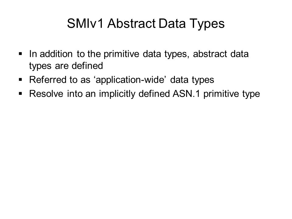 SMIv1 Abstract Data Types