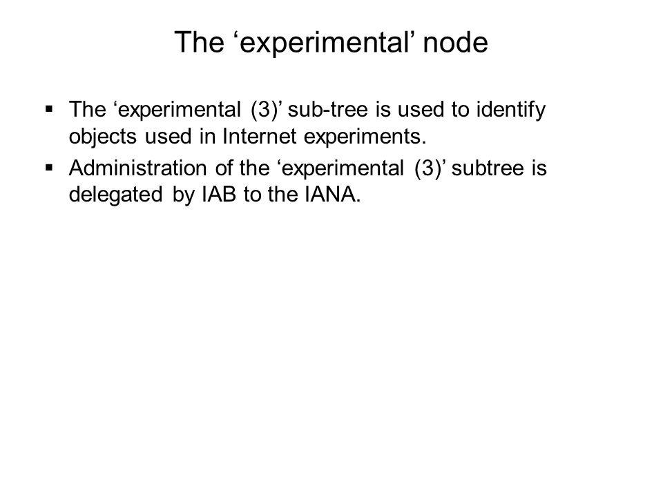 The 'experimental' node