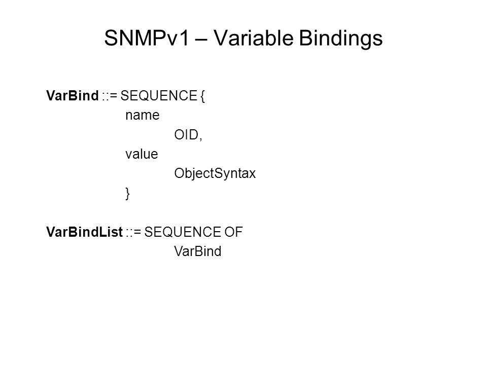 SNMPv1 – Variable Bindings