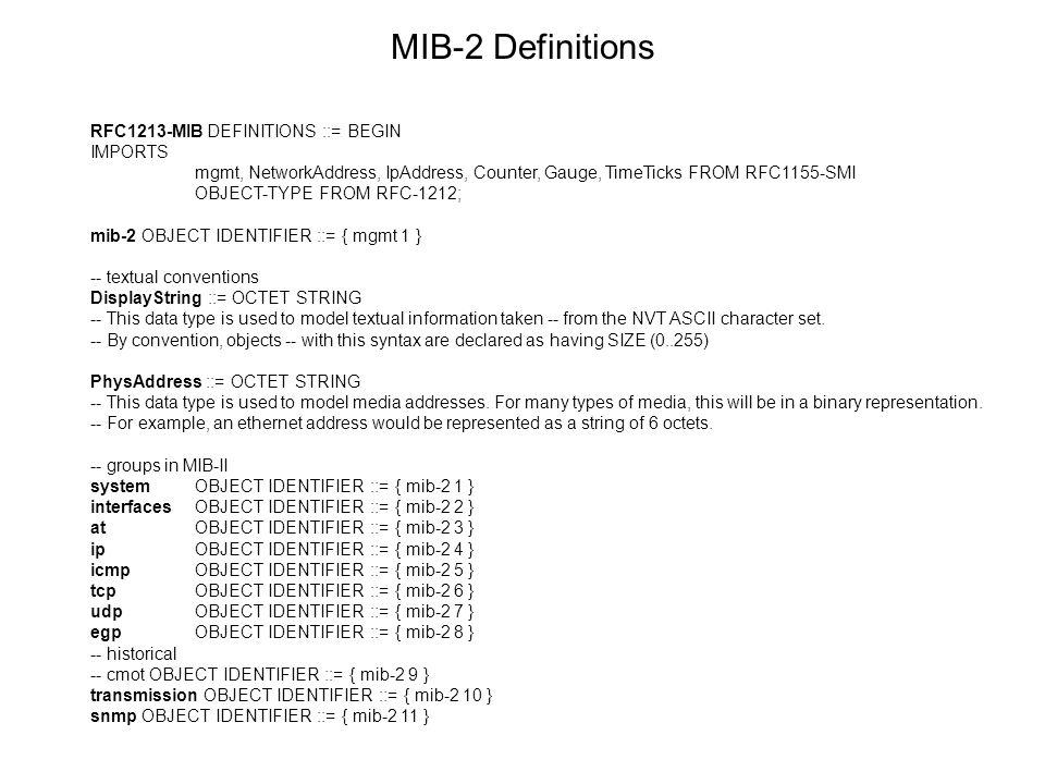 MIB-2 Definitions RFC1213-MIB DEFINITIONS ::= BEGIN IMPORTS