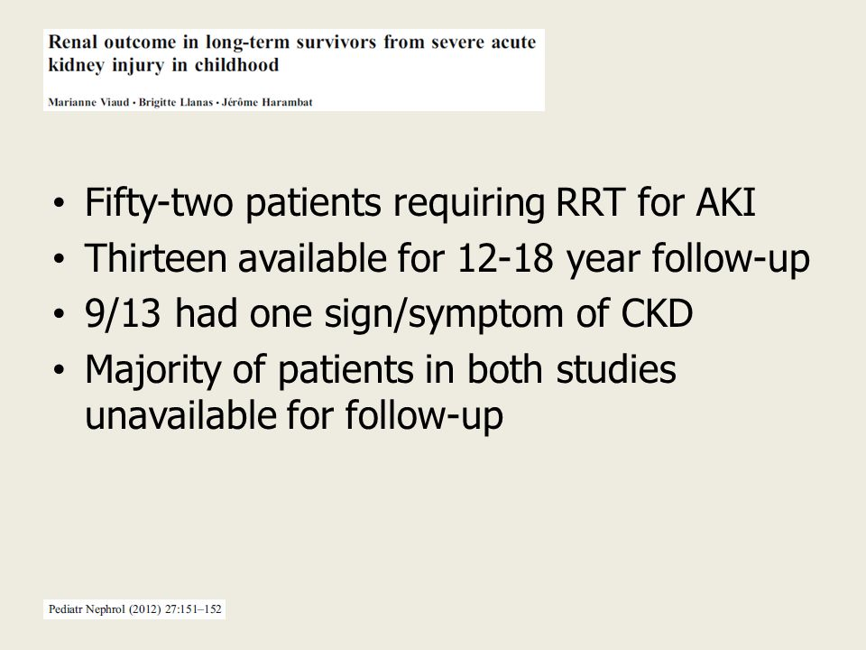 Fifty-two patients requiring RRT for AKI