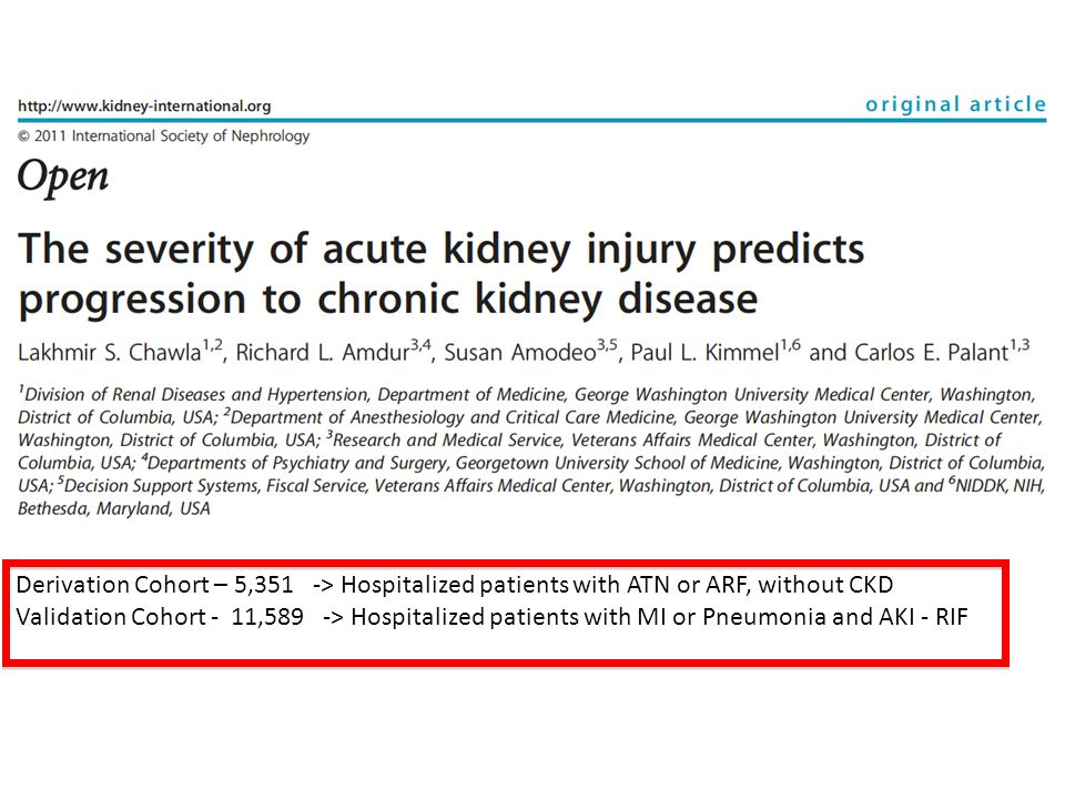 Derivation Cohort – 5,351 -> Hospitalized patients with ATN or ARF, without CKD
