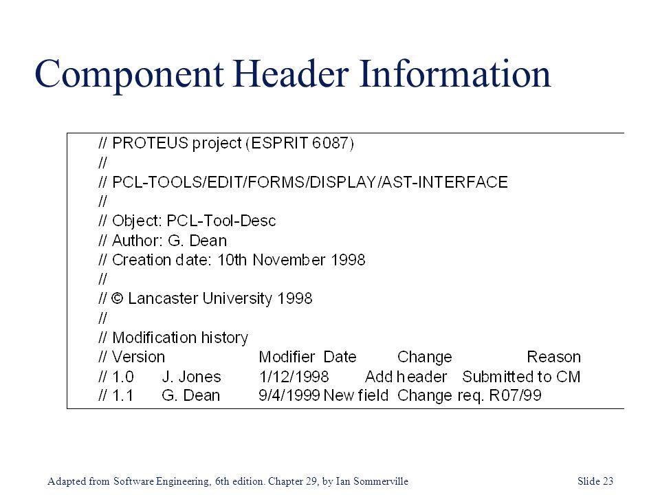 Component Header Information