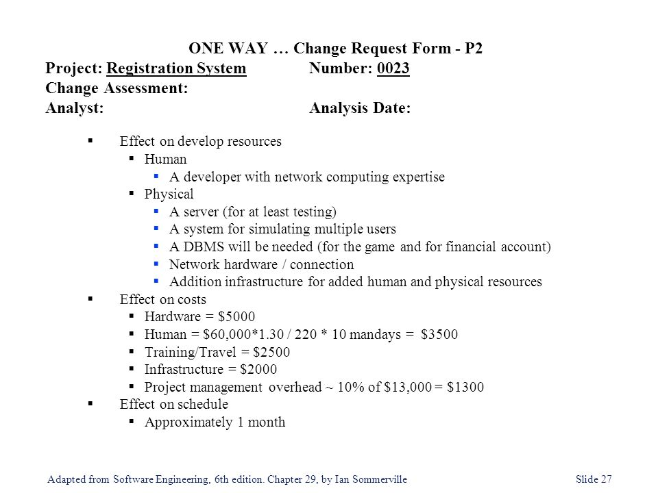 ONE WAY … Change Request Form - P2