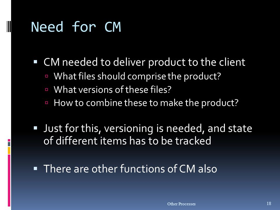 Need for CM CM needed to deliver product to the client