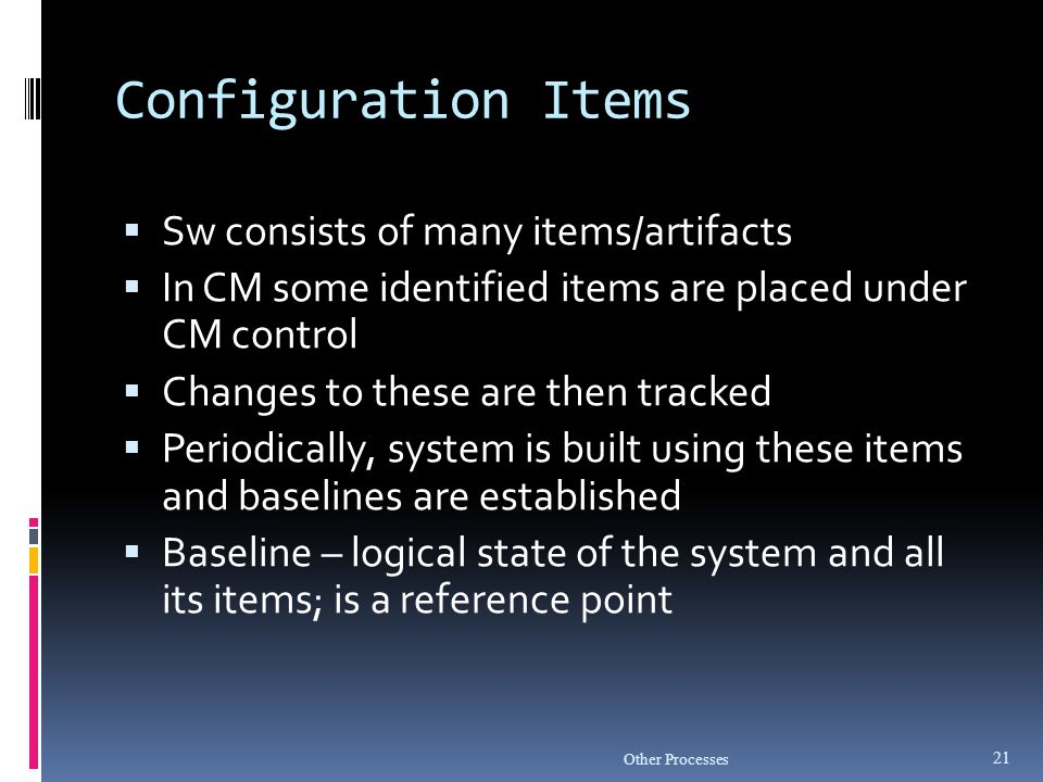 Configuration Items Sw consists of many items/artifacts