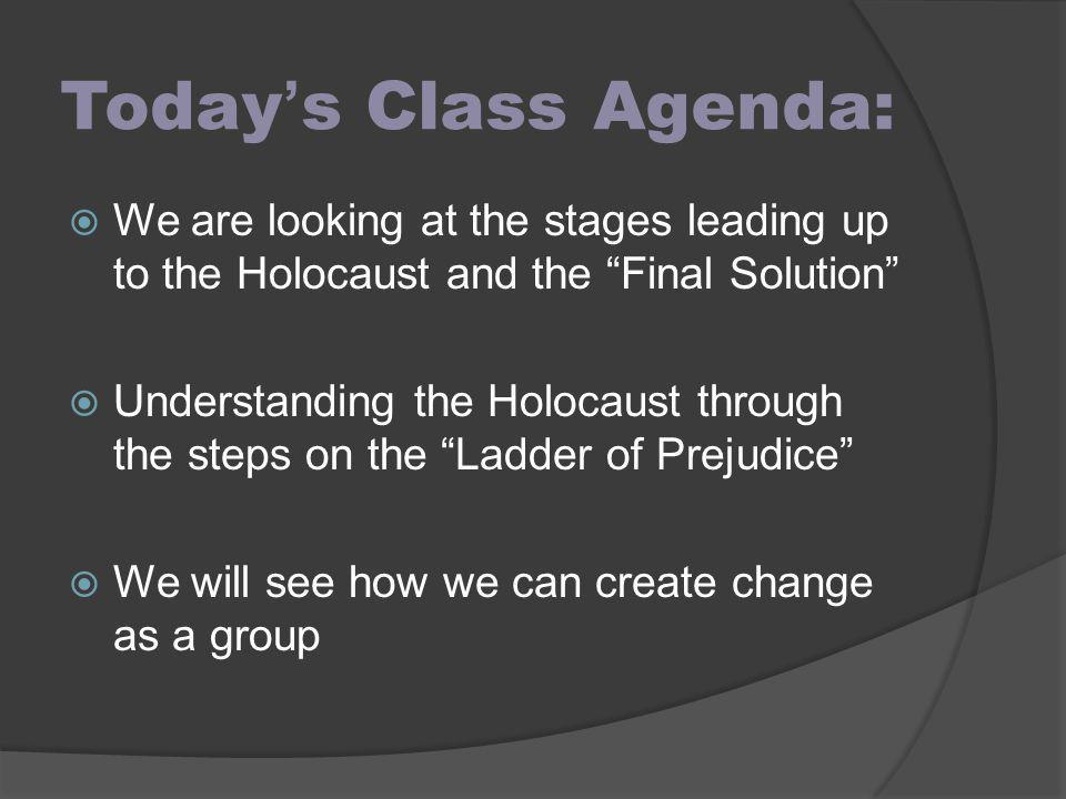 Today's Class Agenda: We are looking at the stages leading up to the Holocaust and the Final Solution