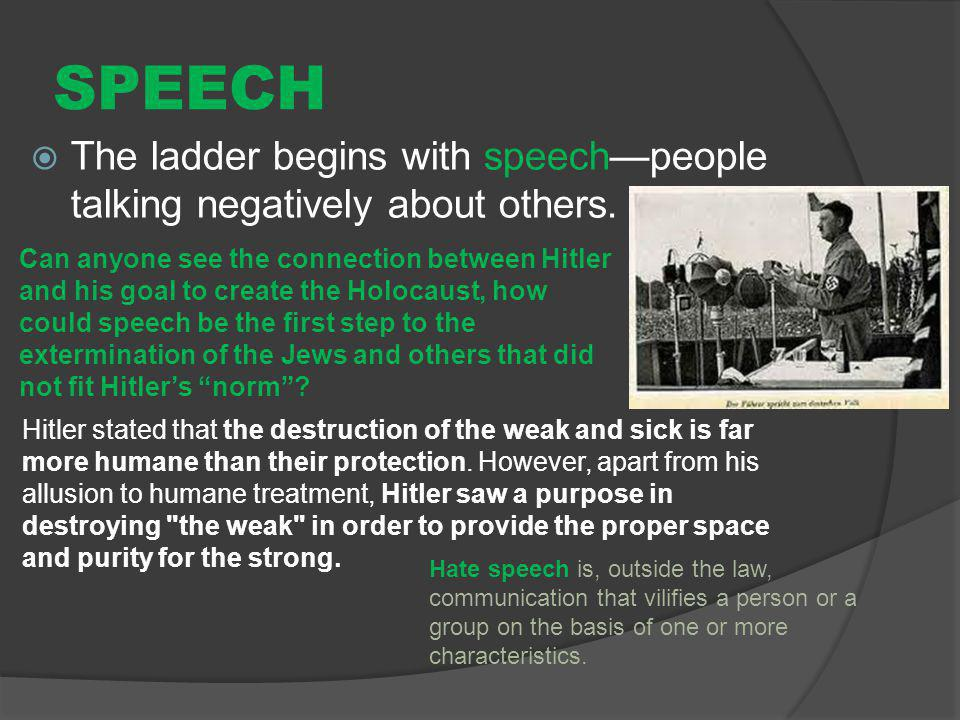 SPEECH The ladder begins with speech—people talking negatively about others.
