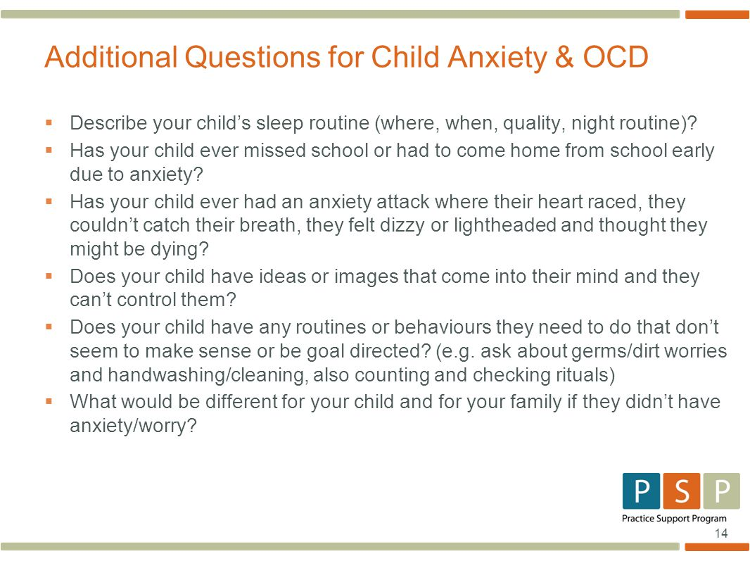 Additional Questions for Child Anxiety & OCD