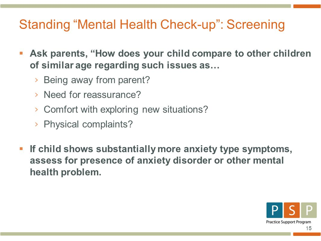 Standing Mental Health Check-up : Screening