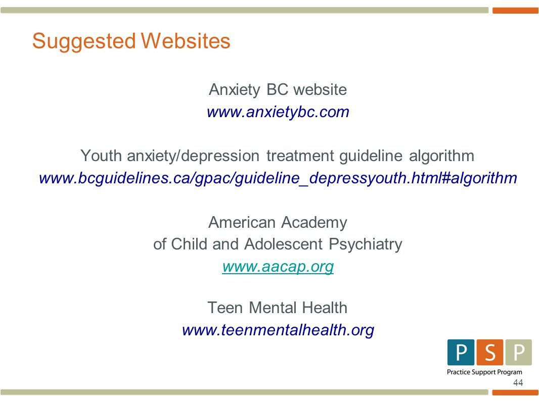 Suggested Websites Anxiety BC website