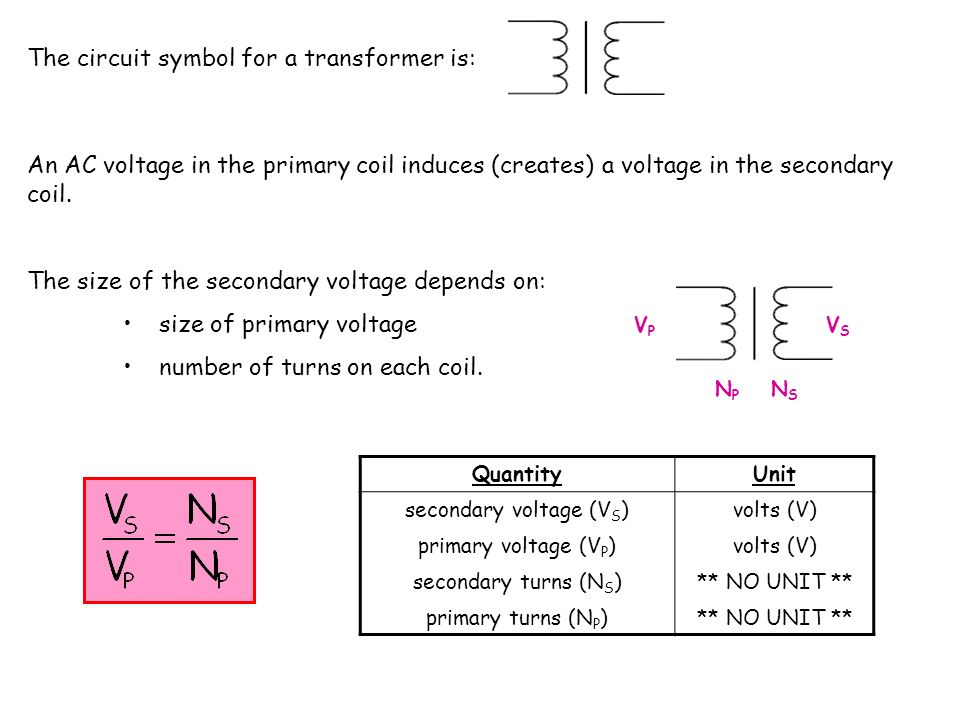secondary voltage (VS)