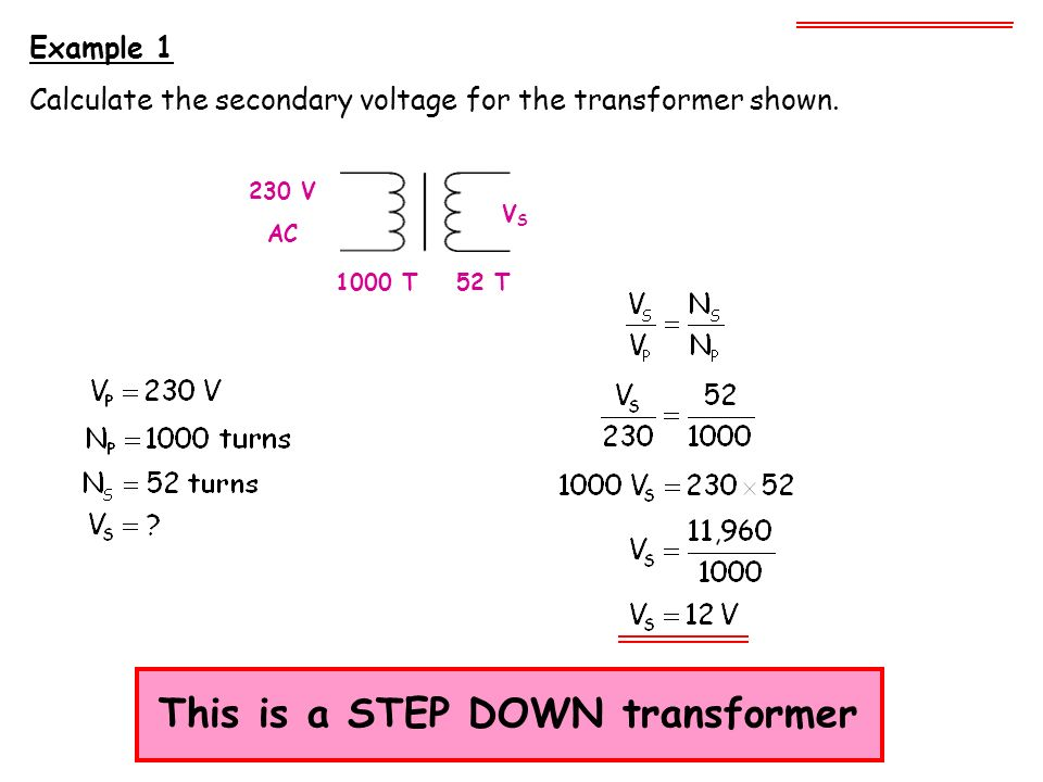 This is a STEP DOWN transformer