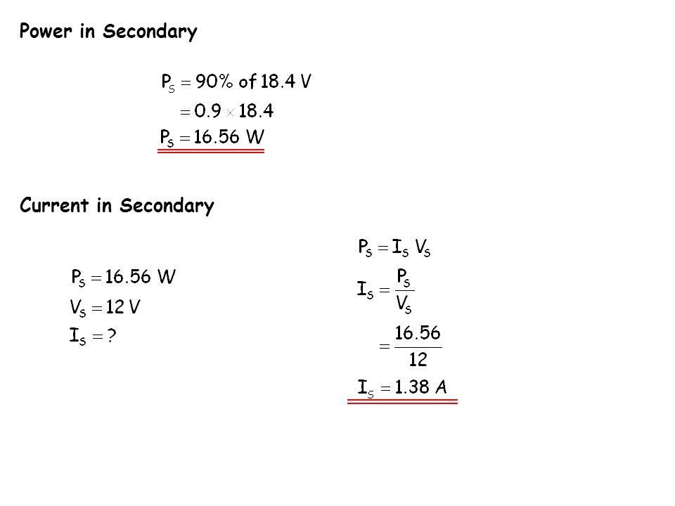 Power in Secondary Current in Secondary