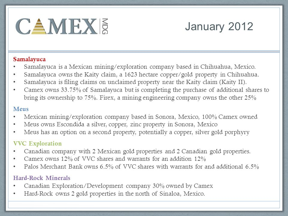 January 2012 Samalayuca. Samalayuca is a Mexican mining/exploration company based in Chihuahua, Mexico.