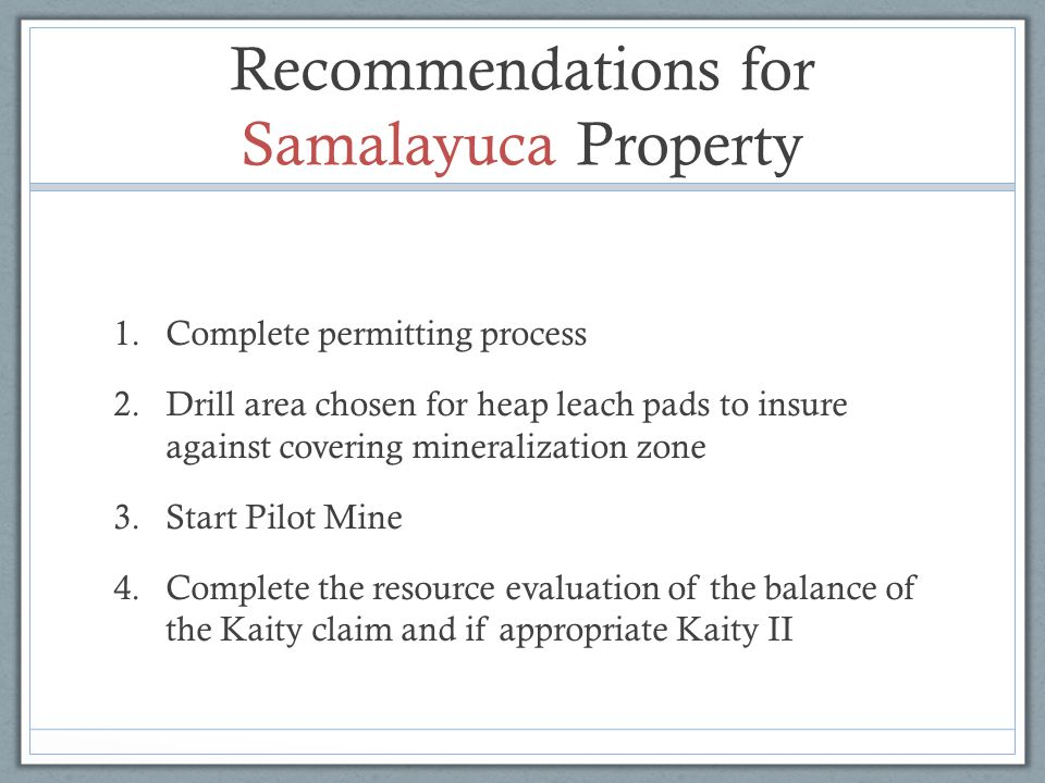 Recommendations for Samalayuca Property