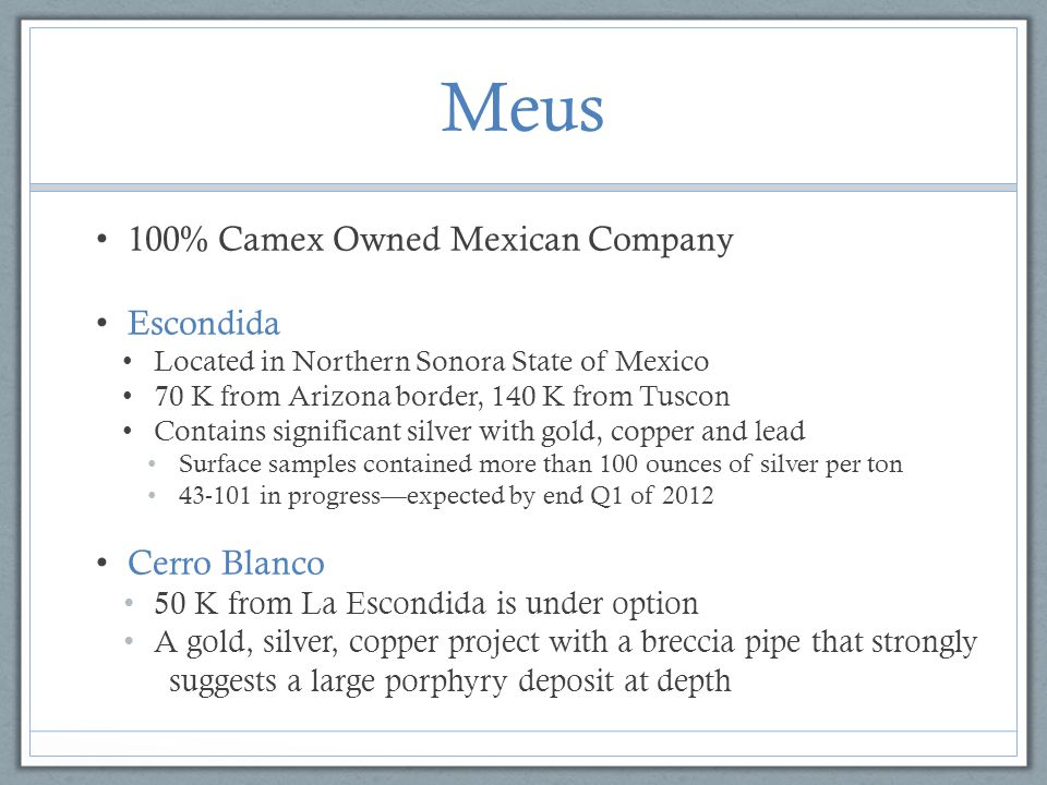 Meus 100% Camex Owned Mexican Company Escondida Cerro Blanco