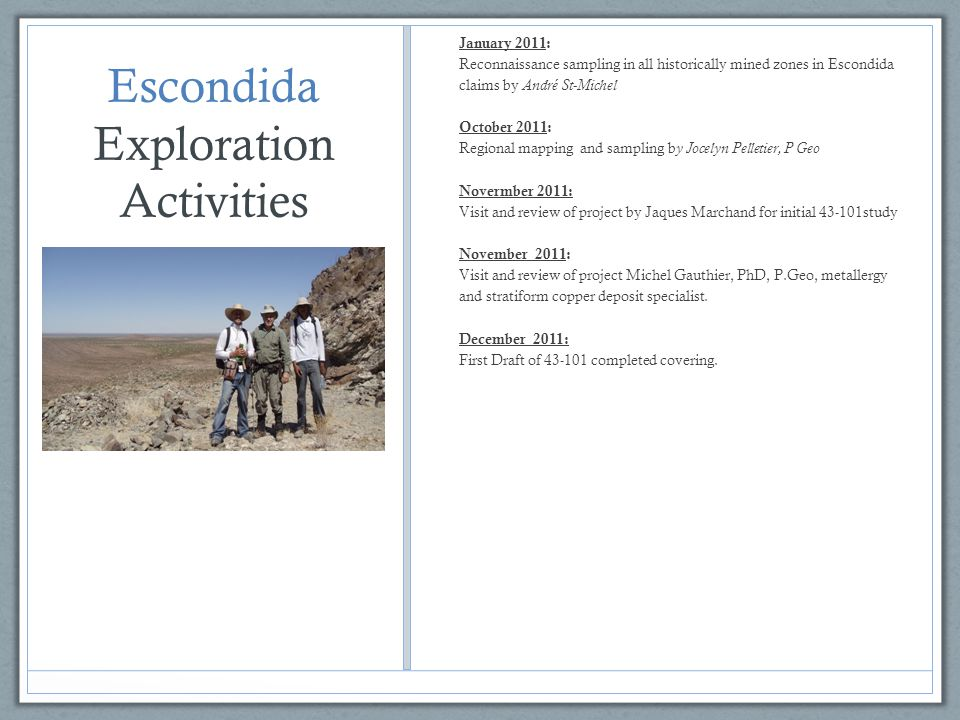 Escondida Exploration Activities