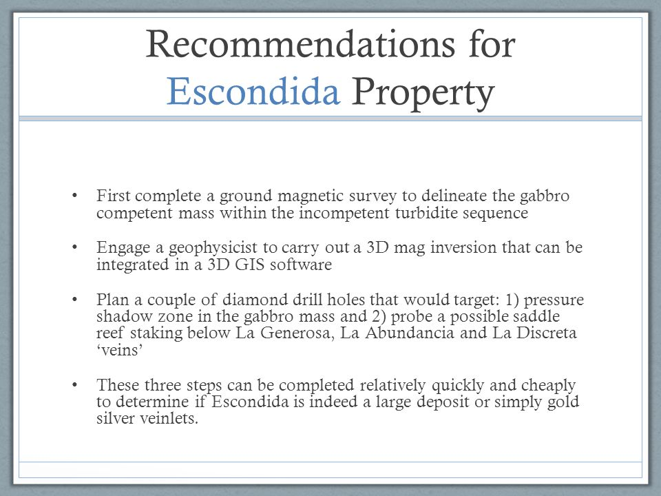Recommendations for Escondida Property