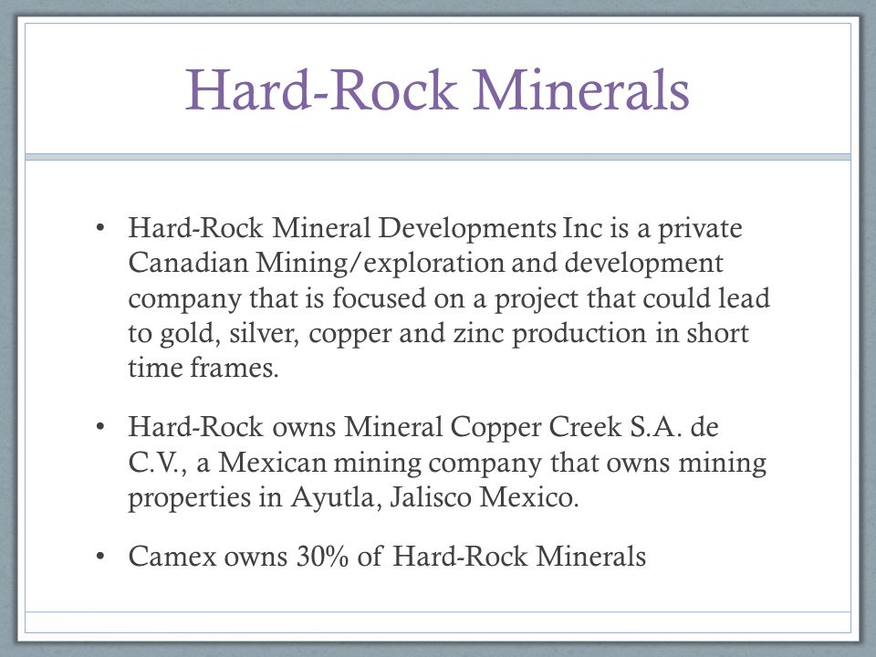 Hard-Rock Minerals