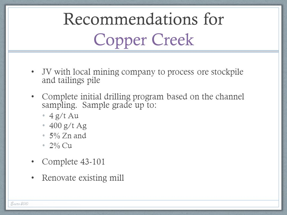 Recommendations for Copper Creek