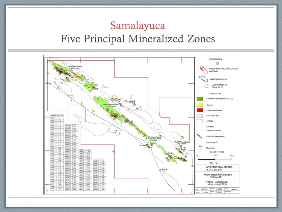 Five Principal Mineralized Zones