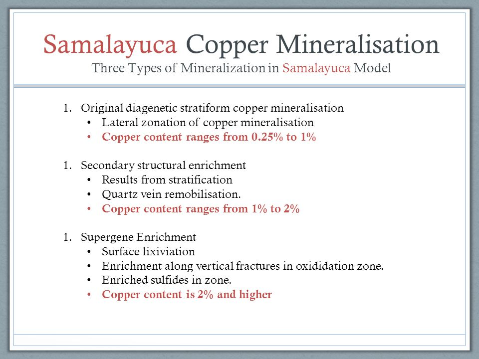 Samalayuca Copper Mineralisation