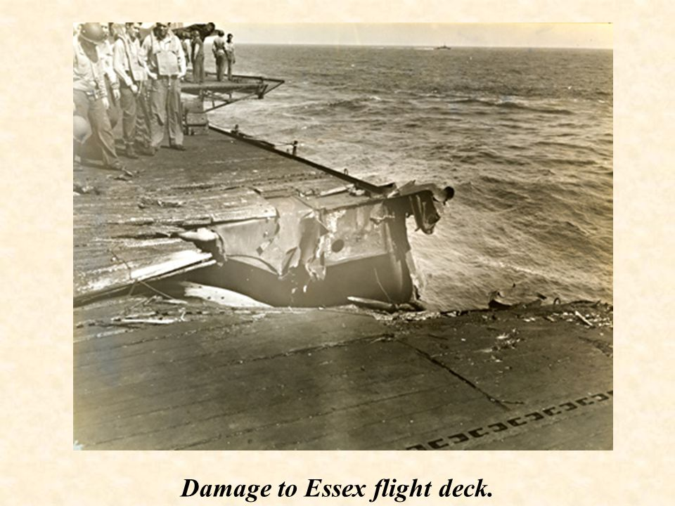 Damage to Essex flight deck.