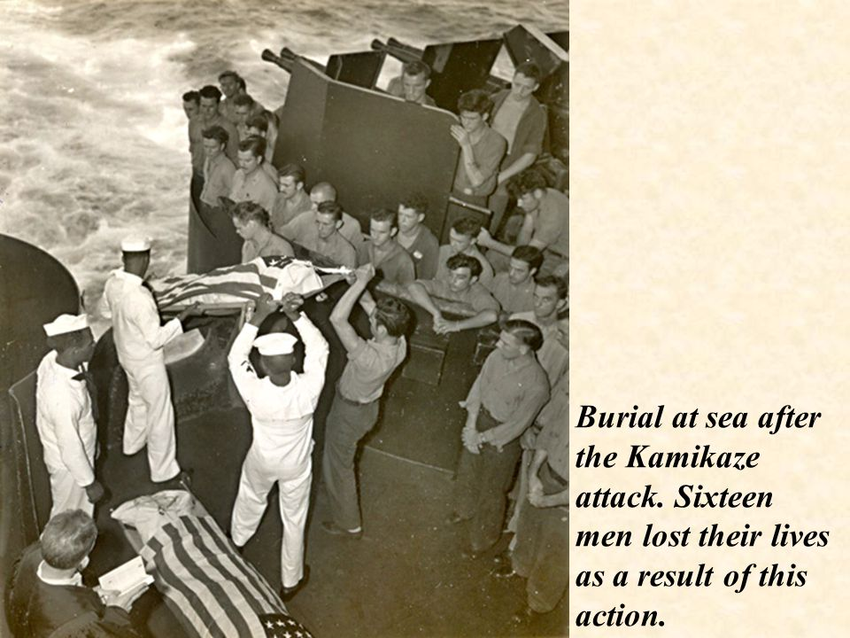 Burial at sea after the Kamikaze attack