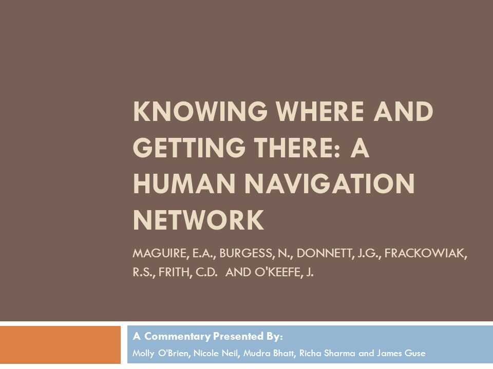 Knowing where and getting there: a human navigation network Maguire, e