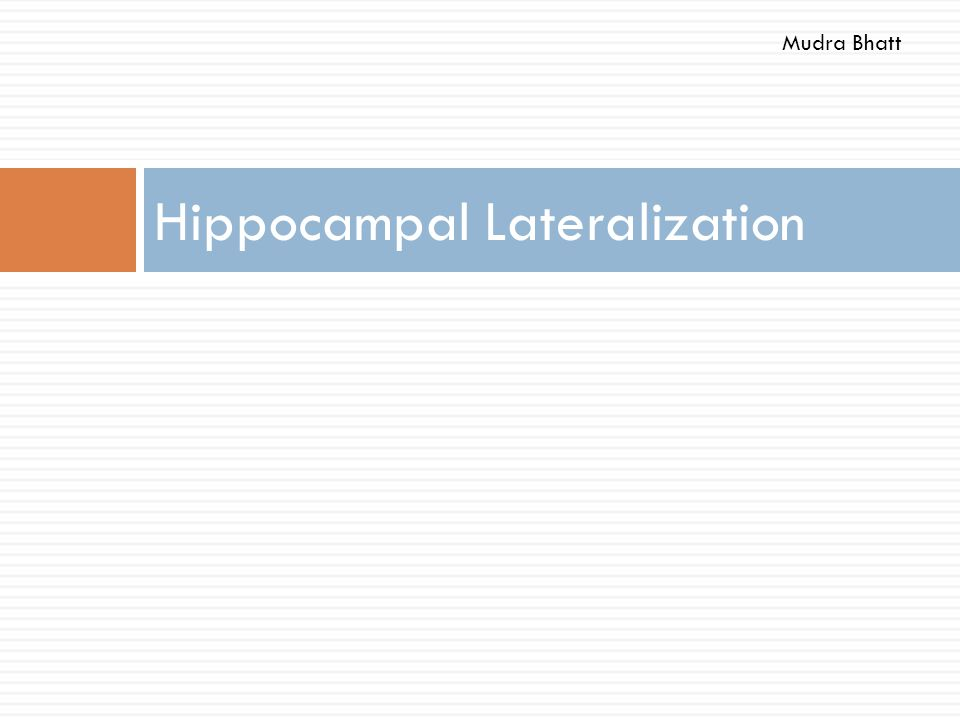 Hippocampal Lateralization