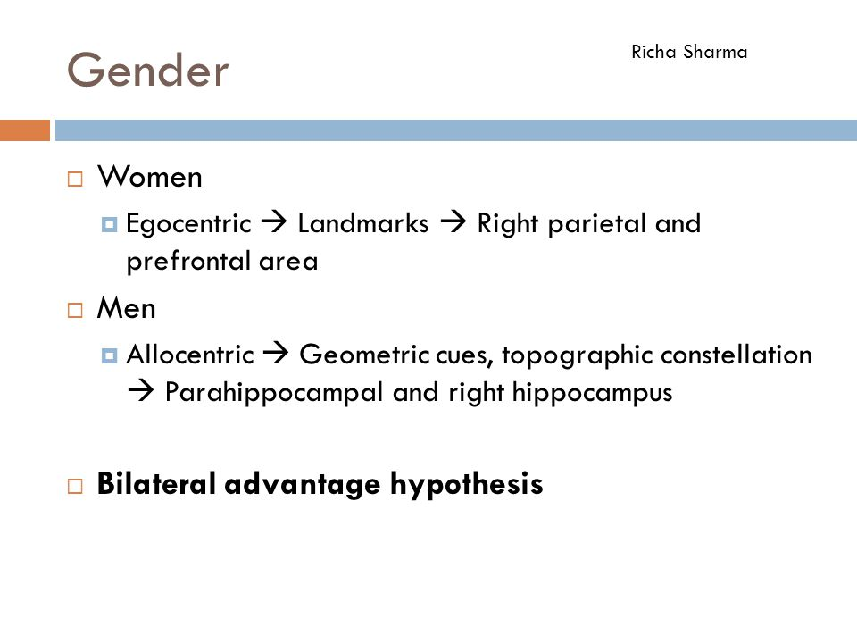 Gender Women Men Bilateral advantage hypothesis