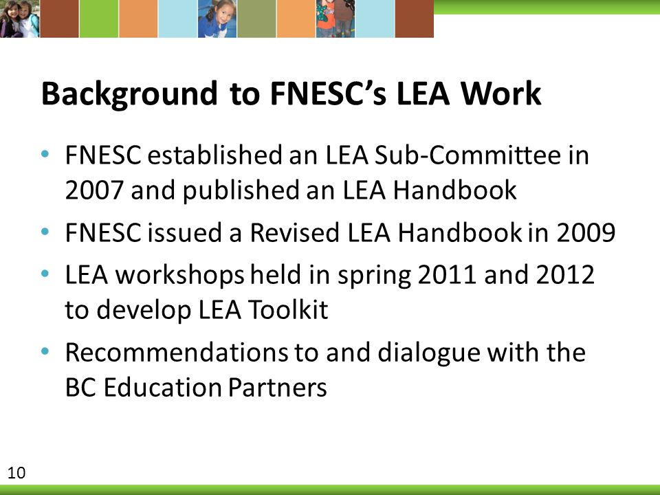 Background to FNESC's LEA Work