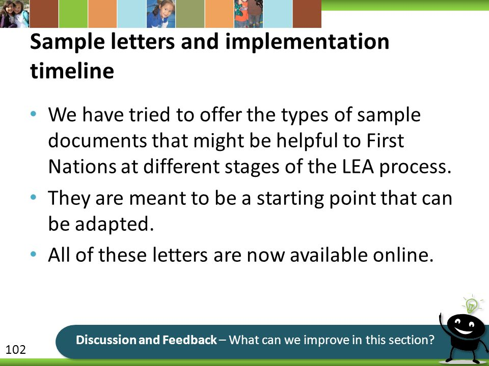Sample letters and implementation timeline