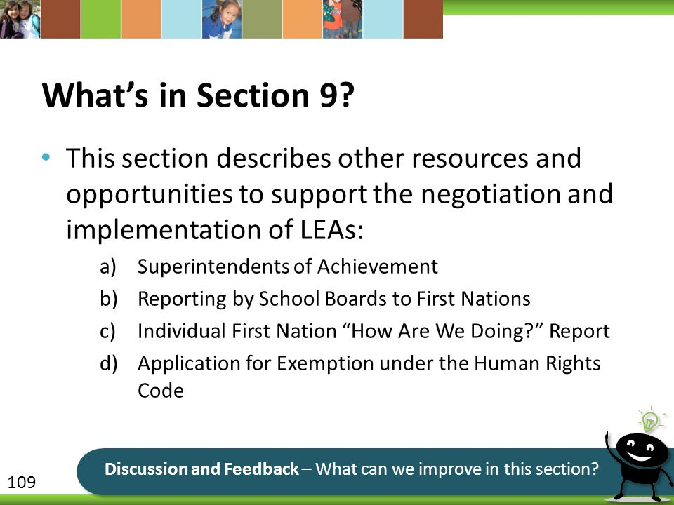 What's in Section 9 This section describes other resources and opportunities to support the negotiation and implementation of LEAs: